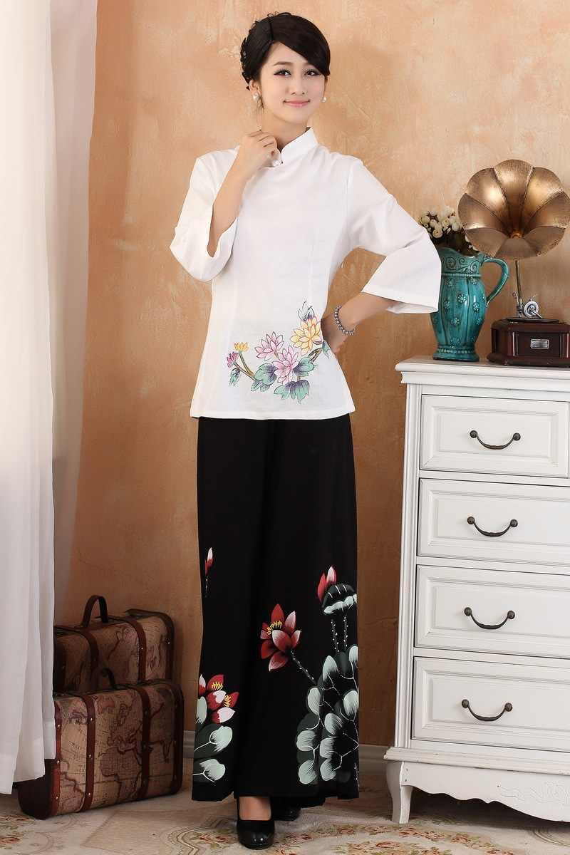 新着中国スタイルのコットンリネン女性唐装トップスブラウス伝統的な構図シャツプラスサイズ S 4XL 2380