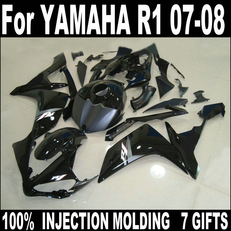Black Fit 100% injection molding <font><b>fairings</b></font> for <font><b>YAMAHA</b></font> <font><b>R1</b></font> 2007 <font><b>2008</b></font> body work parts <font><b>fairing</b></font> kit YZF <font><b>R1</b></font> 07 08 HZ58 image