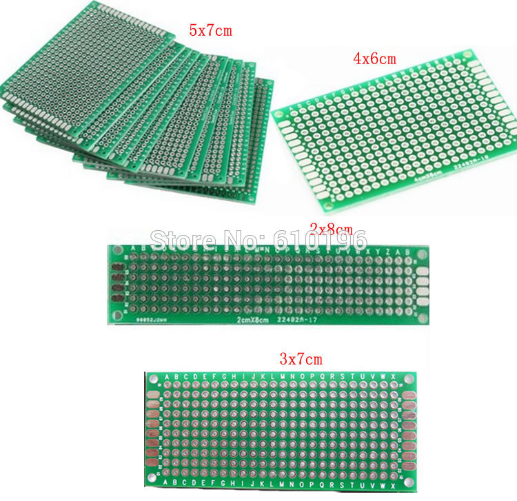 4PCS/LOT 5×7 4×6 3×7 2×8 CM Double Side Copper Prototype PCB Universal Board Experimental Development Plate For Arduino