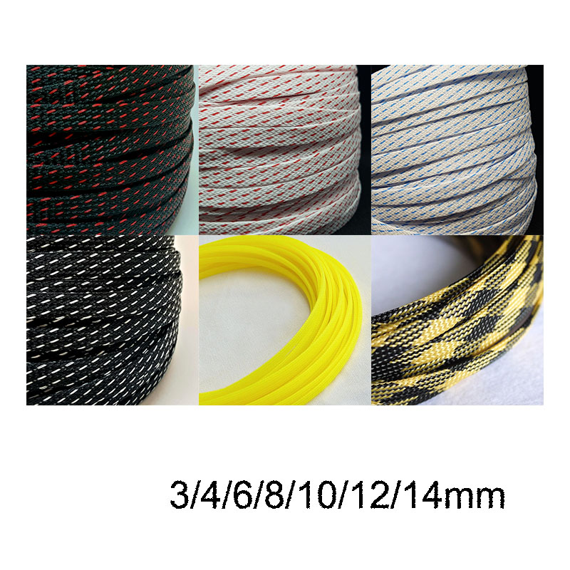 US $6.2 |10M 3/4/6/8/10/12mm colour Cable Sleeve Wire Protection PET Wiring Sleeves on