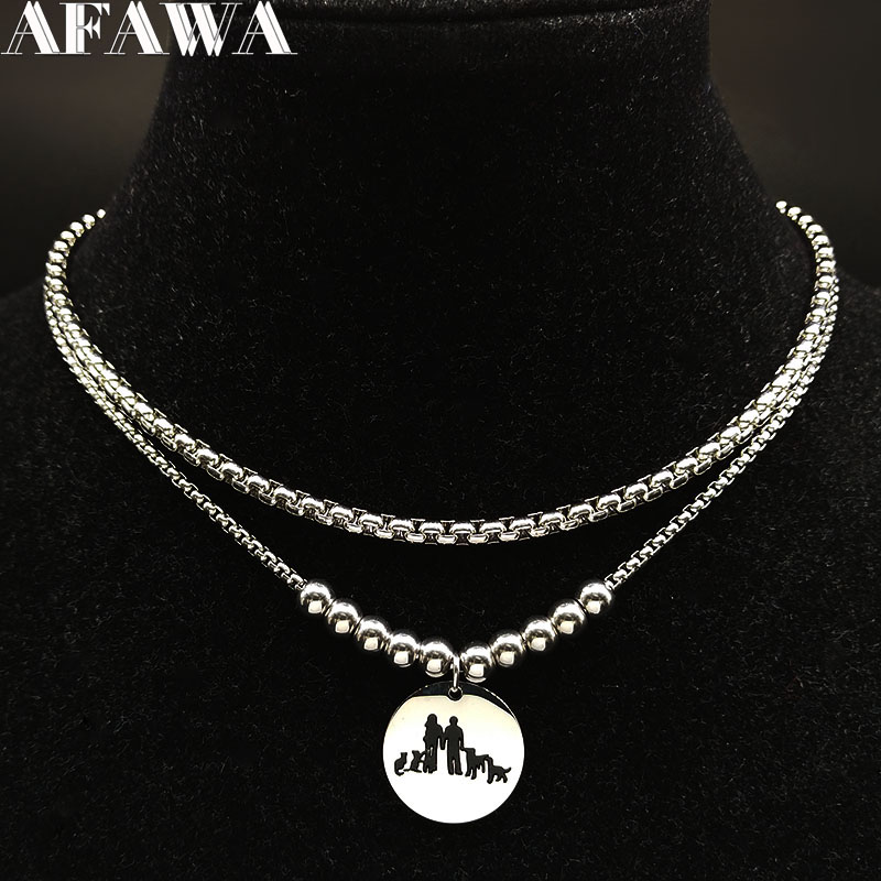 2019 Fashion Famliy Two <font><b>Dog</b></font> Two <font><b>Cat</b></font> Stainless Steel Statement Necklace Women Silver Color Necklace <font><b>Jewellery</b></font> collares N186708 image