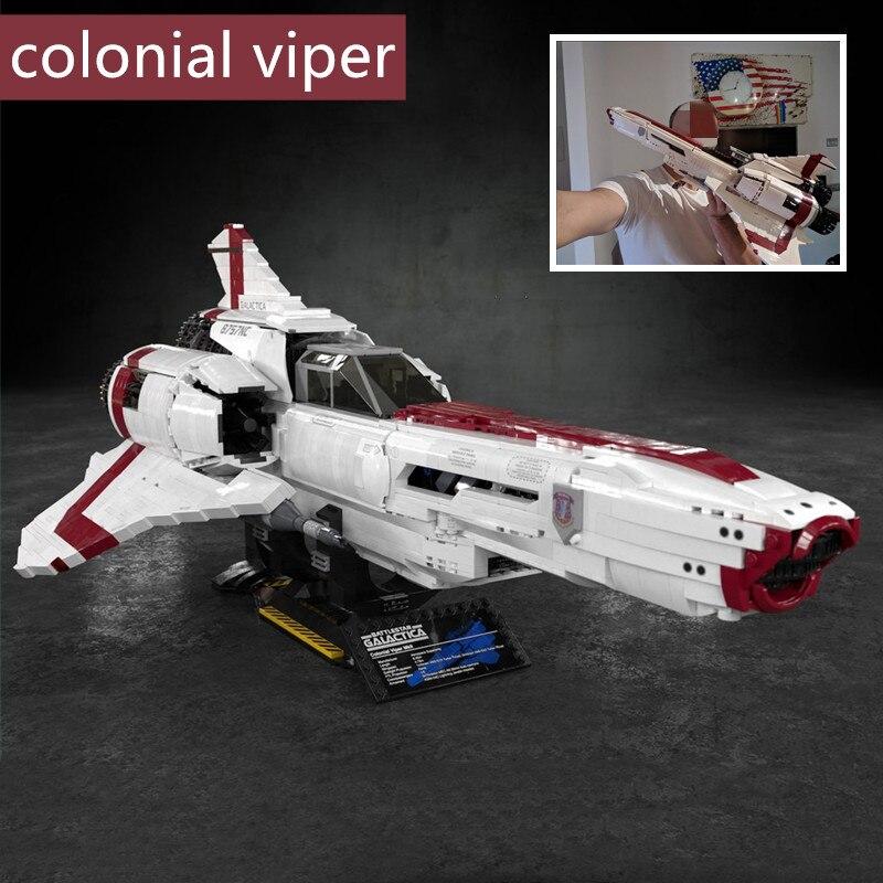 Maqueta de bloques de construcción Battlestar Galactica MOC Colonial Viper MKII ciencia Juguetes Regalo de Cumpleaños fit MOC-9424