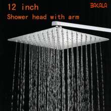 Bakala 12 Inch Rvs Douchekop Met Arm Wall Mounted Ultra Dunne Regendouche Met Douche Arm CP-1212A(China)
