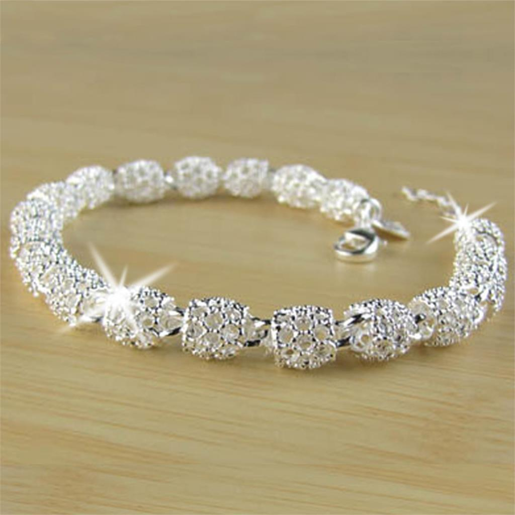 New Arrival Silver Plated JewelryCrystal Bangles Bracelet For Christmas Gift Hollow Bead Bracelet Fashion Bracelet For Women