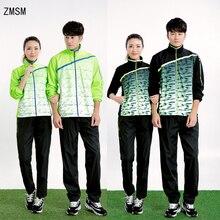 ZMSM новая теннисная толстовка с длинными рукавами для мужчин и женщин пальто на молнии для бега волейбол для бадминтона и настольного тенниса топы и штаны костюмы NM5071