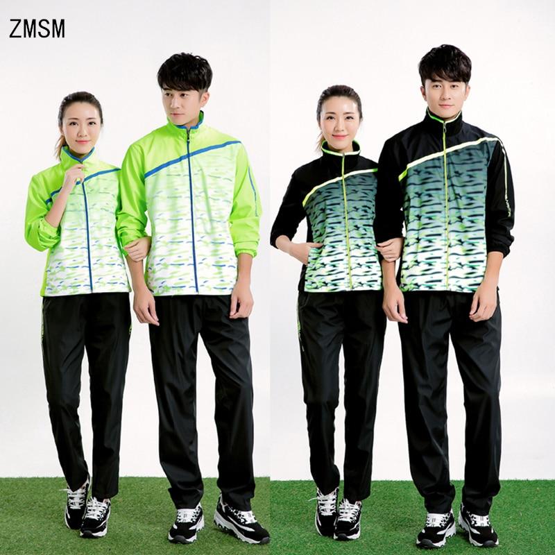 ZMSM New Long Sleeve Men & Women Tennis Jackets Zipper Coat Running Volleyball Badminton Table Tennis Tops Pants Suits NM5071