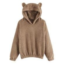 15a8aeb7772 Cute Harajuku Womens Sweatshirts Hoodie Crop Tops Solid Cat Ear Long Sleeve Cropped  Sweatshirt Hooded Pullover