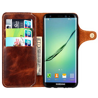 Retro Vintage Genuine Cowhide Leather Wallet Case Flip Cover With Money Pocket Card Holders For Samsung