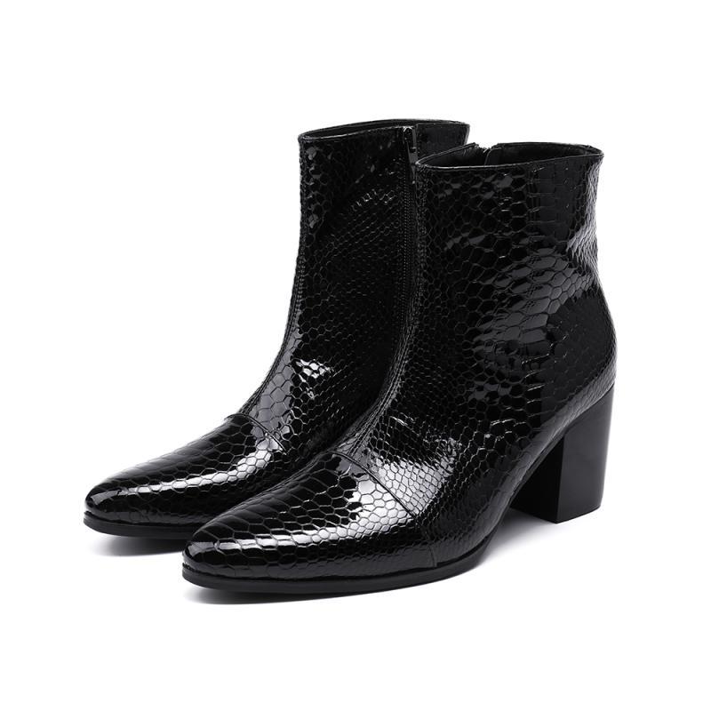 Для мужчин обувь Обувь на высоком каблуке змеиной кожи из лакированной кожи черный Botas Hombre лодыжки военные сапоги панк обувь Ботинки Челси Д