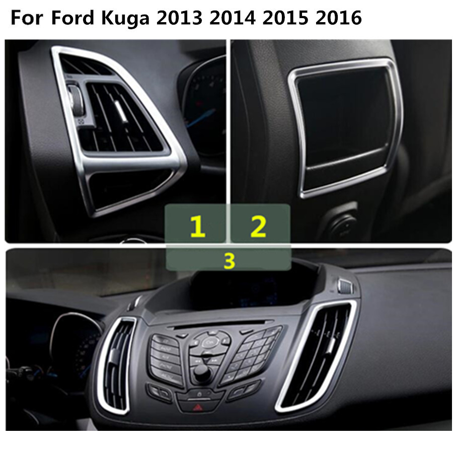 Car front rear back switch vent outlet box l r air condition panel trim frame lamp 5pcs for ford kuga 2013 2014 2015 2016