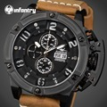 INFANTRY Aviateur Men Watches Luxury Swim Quartz Watches Relojes Big Dial Face Chronograph Luminous Analog Day Date Wristwatches