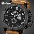 INFANTRY Aviateur Men Watches Luxury Swim Quartz Watches Relojes Big Dial Face Chronograph Luminous Analog Day Date Wristwatches