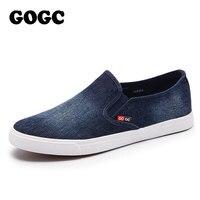 GOGC 2018 Новое прибытие дышащие слипоны мужские кроссовки повседневная обувь джинсовая мужская обувь комфортные кеды мужские классический дизайн мокасины мужские