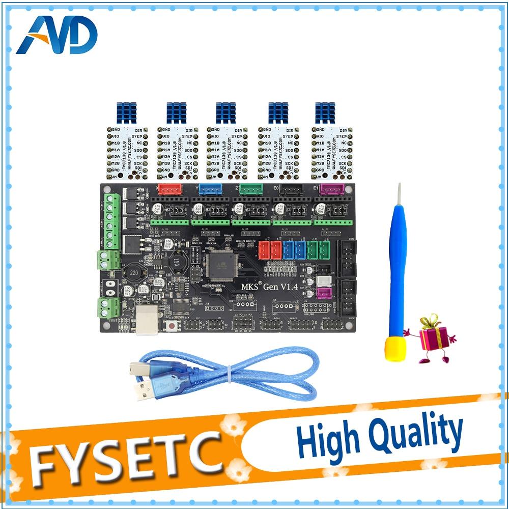 МКС Gen V1.4 Ctrl + 5 шт. tmc2130 V1.0 и радиатор шаговый двигатель Совместимость с RAMPS1.4/Mega2560 R3 3D принтер части