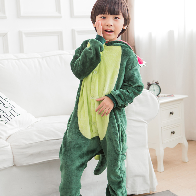 Flannel Green Dinosaur Cartoon Animal Coveralls Parent-child Home Wear Clothing Winter Childrens Siamese Home Wear Clothing