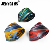 JEMYGINS 100 Silk Fashion Novelty Print Oil Painting Style Hihg Eng Neck Tie
