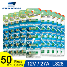 50pcs=10 Cards 12V 27A Dry Alkaline Battery 27AE 27MN A2 L828 V27GA EL812 A27 MN27 G27A Eunicell 50mAh High Voltage Batteries