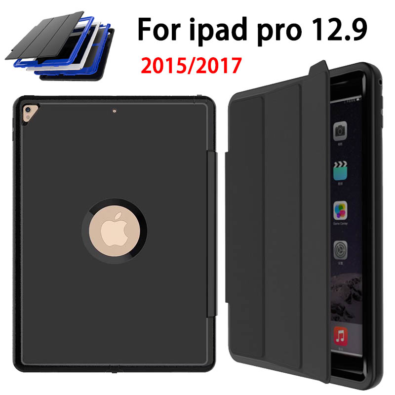 Magnetic Smart Auto Sleep Wake Case for Apple iPad Pro 12.9 2015 2017 Cover Premium PU Leather TPU Trifold Stand Shockproof Case soft silicone tpu translucent back cover for ipad mini 4 mini4 trifold stand smart auto on off premium pu leather slim fit case
