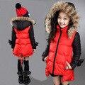 Chica de moda Abrigo de Invierno Rojo Gruesa Por la Chaqueta de Algodón Niños de la Capa Ropa de Invierno Freeshipping