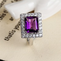 Luxury Semi Precious Stones RING 925 Silver Gold Inlaid Natural Amethyst Ring Sterling Silver Ring Jewelry