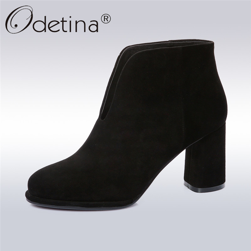 Odetina 2018 New Fashion Woman Genuine Leather Ankle Boots High Square Heel Slip on Booties Round Toe Casual Shoes Big Size 43 slip on men casual shoes male sandal new fashion genuine leather low heel high quality brand korean style thick bottom plus size