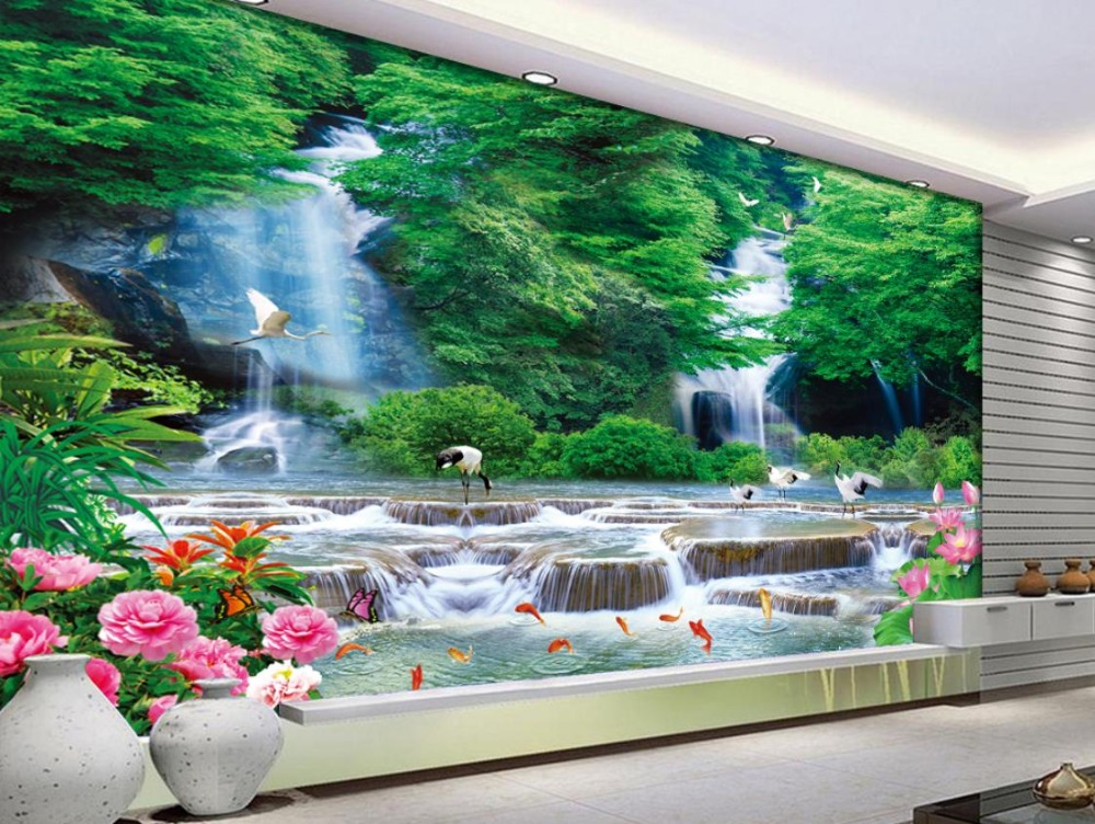 Photo Wall Mural 3d Stereoscopic Waterfall Landscape