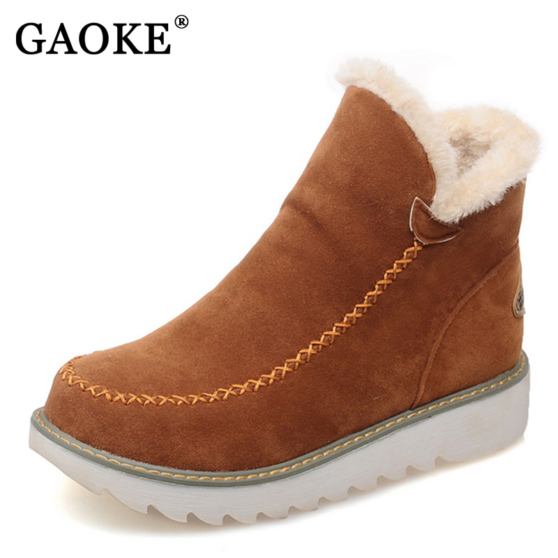 GAOKE Big Size 34-43 Winter Snow Boots Women Ankle Boots 2017 Round Toe Platform Winter Shoes With Fur Woman Fur Shoes 2018 new sweet bowtie women boots ankle boots low heels boots woman winter snow boots platform shoes woman large size 34 43