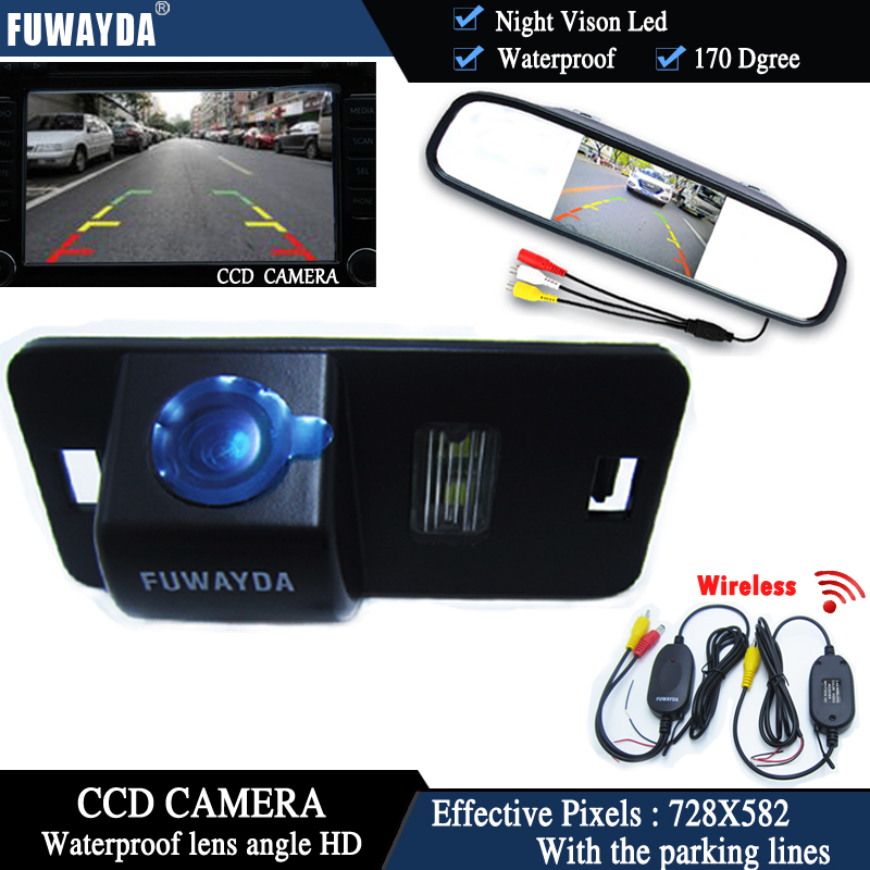 FUWAYDA Wireless Color CCD Chip Car RearView Camera for BMW 1357 series X3 X5 X6 Z4 E39 E53 E46+4.3 Inch rearview Mirror <font><b>Monitor</b></font>