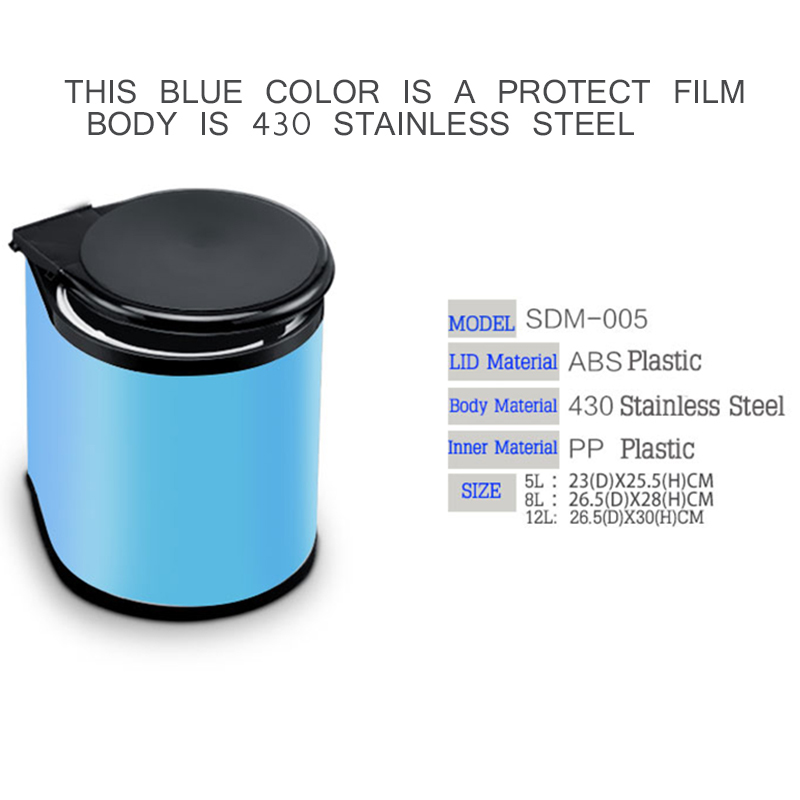 Factory Quality 5l 8l 12l Stainless Steel Pivot Out Trash Can Door Mounted Waste Bin Kitchen Dustbin With Blue Film In Bins From Home Garden On