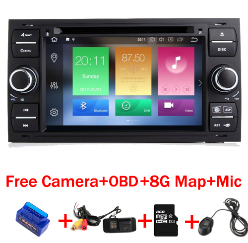 4g + 32g 8 Core 7 pollice 2 din Android 8.1 Car DVD Player per Ford Focus Kuga transit Fusion GALAXY 4g Wifi Bluetooth mappa Gratuita OBD