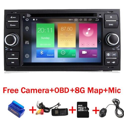 4g + 32g 8 Core 7 pouce 2 din Android 8.1 Lecteur DVD de Voiture pour Ford Focus Kuga transit Fusion GALAXY 4g Wifi Bluetooth carte Gratuite OBD