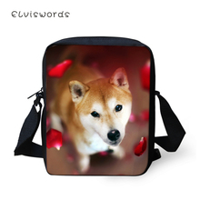 ELVISWORDS Women Fashion Messenger Bags Cure Animal Prints Girls Flaps Cross Body Shiba Inu Dogs Pattern Mini Purses