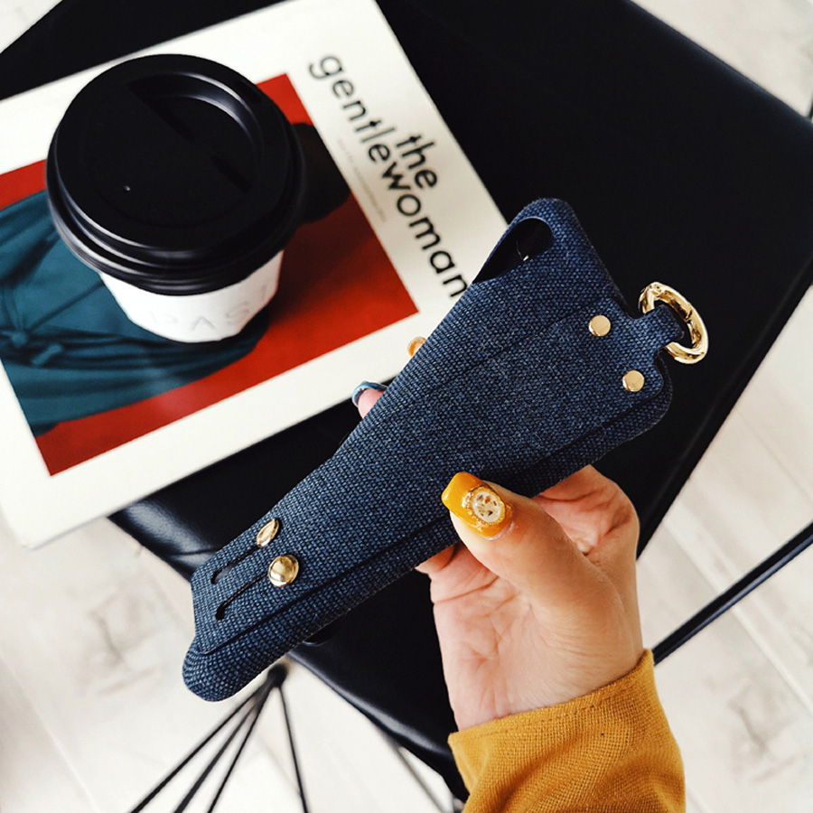 Fabric wristband silicon case for iphone 8 7 6s 6 plus XR XS MAX X case cover fashion holder shockproof soft phone bag capa fund in Half wrapped Cases from Cellphones Telecommunications