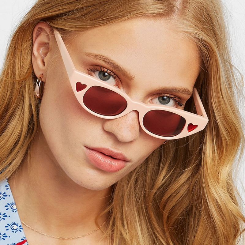 Small Frame Lovely Heart Women Sunglasses Hollow Cat Eye Female Sun Glasses Party Cosplay Glasses Stage Oculos De Sol Shades Women's Sunglasses