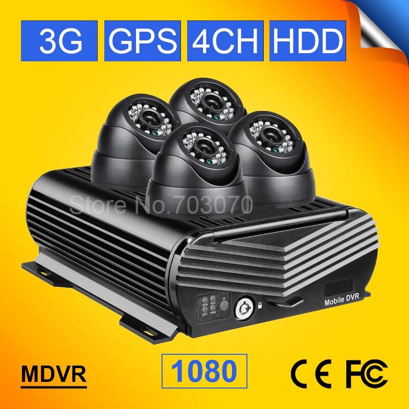 CCTV Système de Surveillance 1080 P 3G GPS 4CH AHD HD Vidéo Mobile Dvr + 4 PCS Dom Nuit Vision À L'intérieur 2.0MP Caméra De Voiture Pour Bus camion