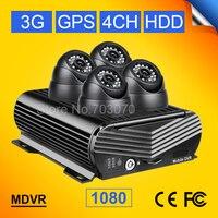 Cctv監視システム1080 p 3グラムgps 4ch ahd hdビデオ携帯dvr + 4ピースdomナイトビジョン内部2.0mp車カメラ用バストラッ