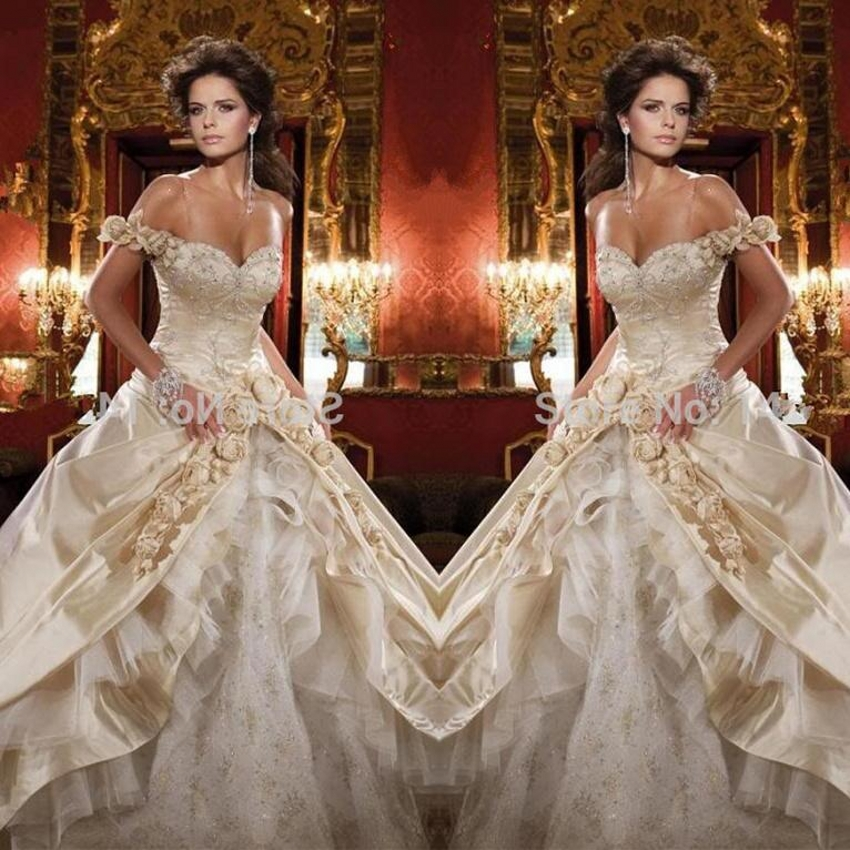 2016 Gold Wedding Dresses Ball Gown Satin Lace Off Shoulder Bridal