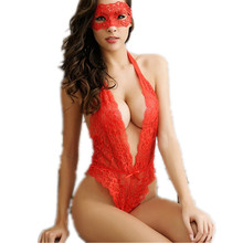 Sexy full slips women hollow out lace mask + slip sets women intimates Open chest spandex