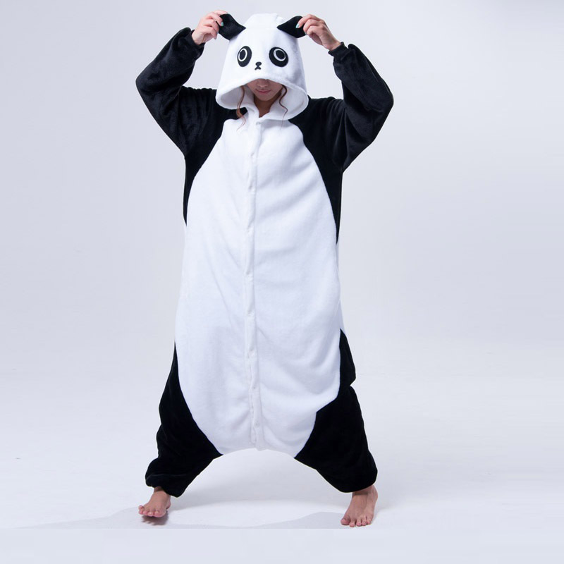 Constructive Cute Cartoon Kids Kigurumi Panda Long Sleeve Hooded Onesie Adult Women Animal Lovely/red Eyes/ Kungfu Panda Pajamas Sleepwear Famous For High Quality Raw Materials And Great Variety Of Designs And Color Full Range Of Specifications And Sizes