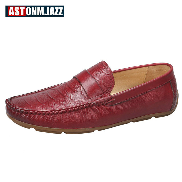 Men s Crocodile Emboss Leather Penny Loafers Slip-on Boat Shoes Breathable  Driving Shoes Business Casual Velet Loafers Shoes Men