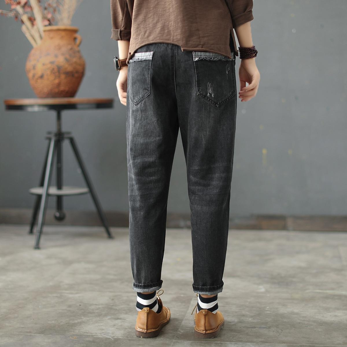 Pantalones Negro Sen Harem Retro Femenina Jeans Literario Desgastados Patch Lavado Elástico Encaje Cintura Pies Línea wq0aa6I