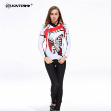XINTOWN Anti sweat Butterfly Long Sleeve Cycling Jersey Set MTB Bike Clothing Bicycle Jerseys Clothes Maillot