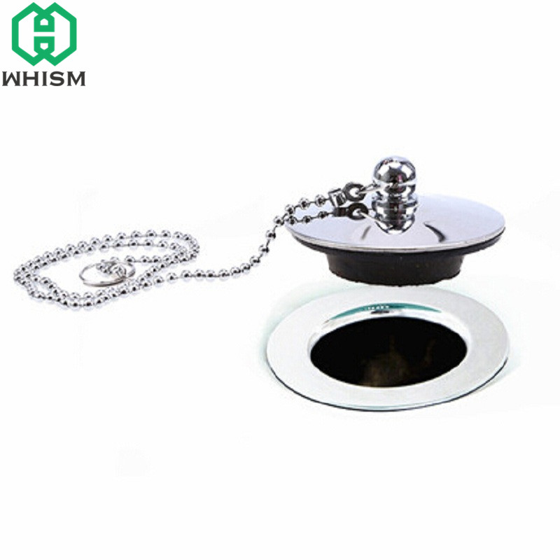 WHISM Sink Plugs Stainless Steel Chrome Plated Bathtub Basin Sink Stopper Drain With Chain
