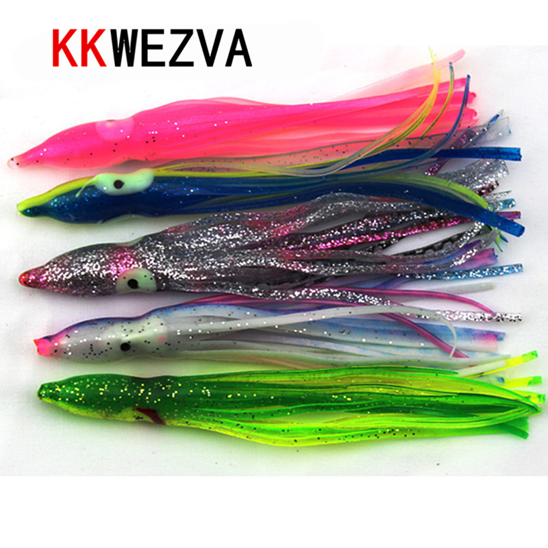 KKWEZVA 15pcs 11cm 3g octopus lure,squid jigs fishing lure <font><b>soft</b></font> lure sea fishing salt water <font><b>big</b></font> game skirt Free shipping image