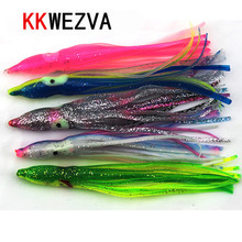 KKWEZVA 15pcs 11cm 3g octopus lure,squid jigs fishing lure soft lure sea fishing salt water big game skirt Free shipping