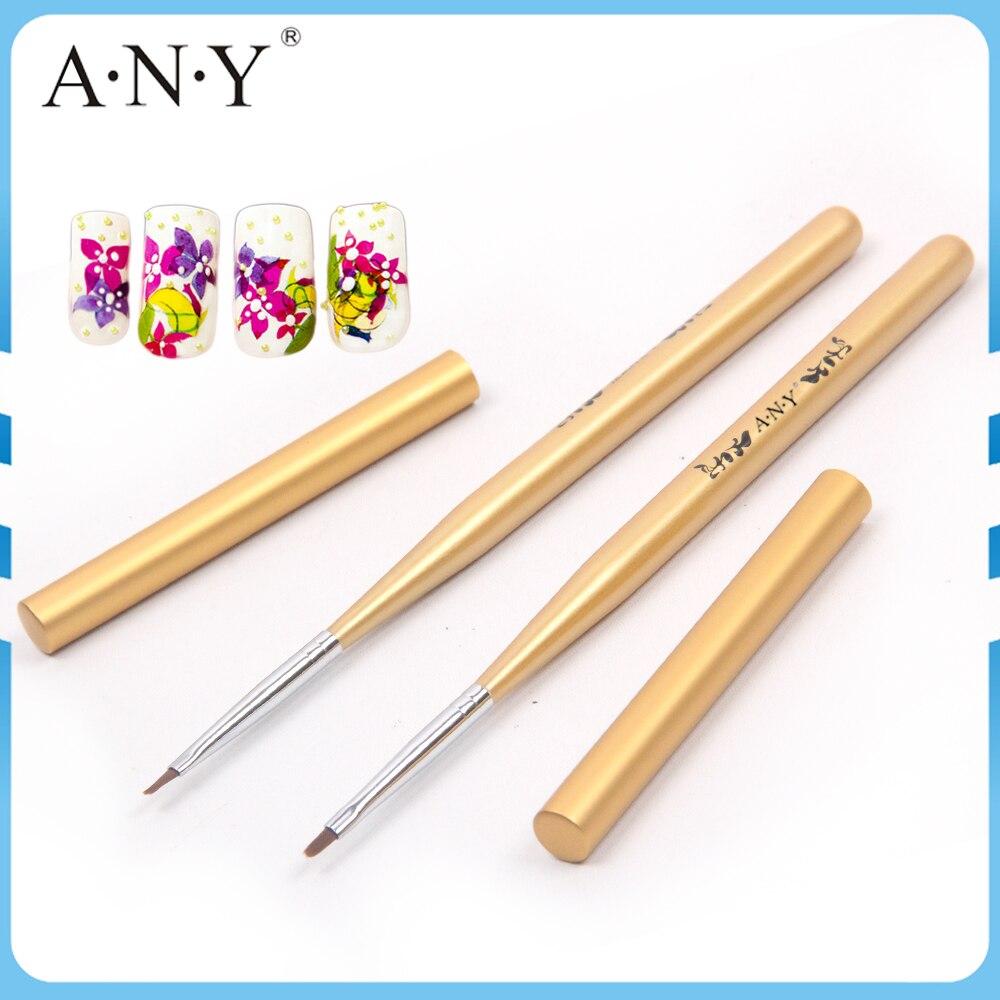 Angnya Nail Art Beauty Care Golden Wooden Handle Metal Cap Nylon
