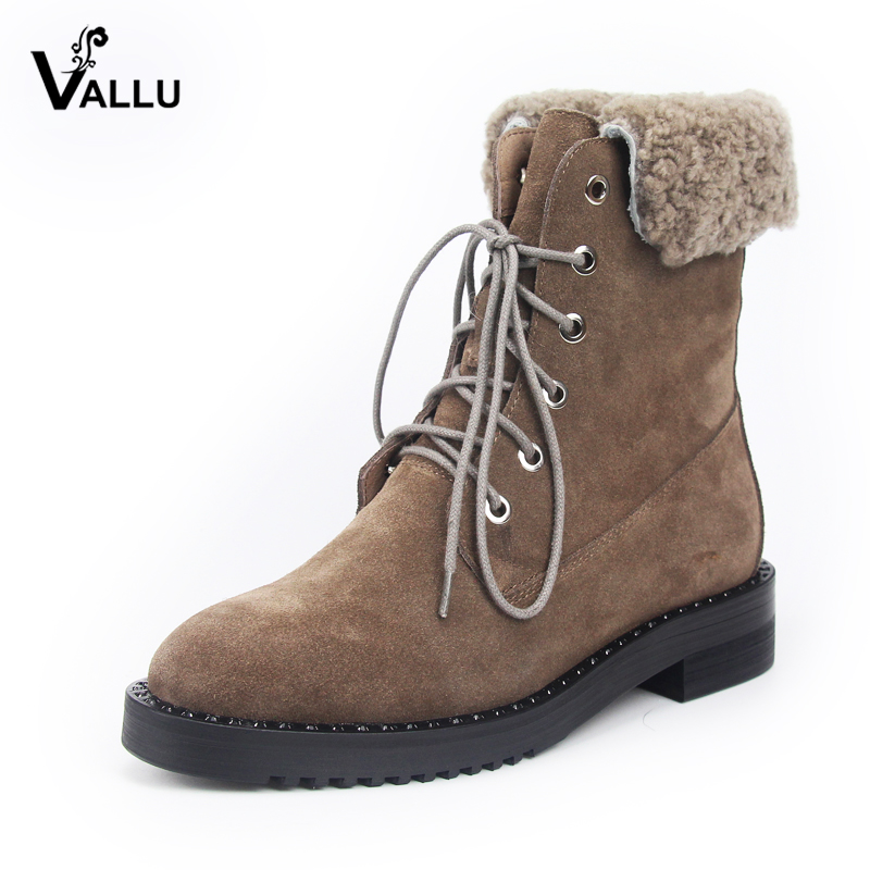 VALLU 2018 Women Winter Shoes Warm Ankle Boots Natural Cow Suede Female Footwear Snow Boots suede ankle snow boots