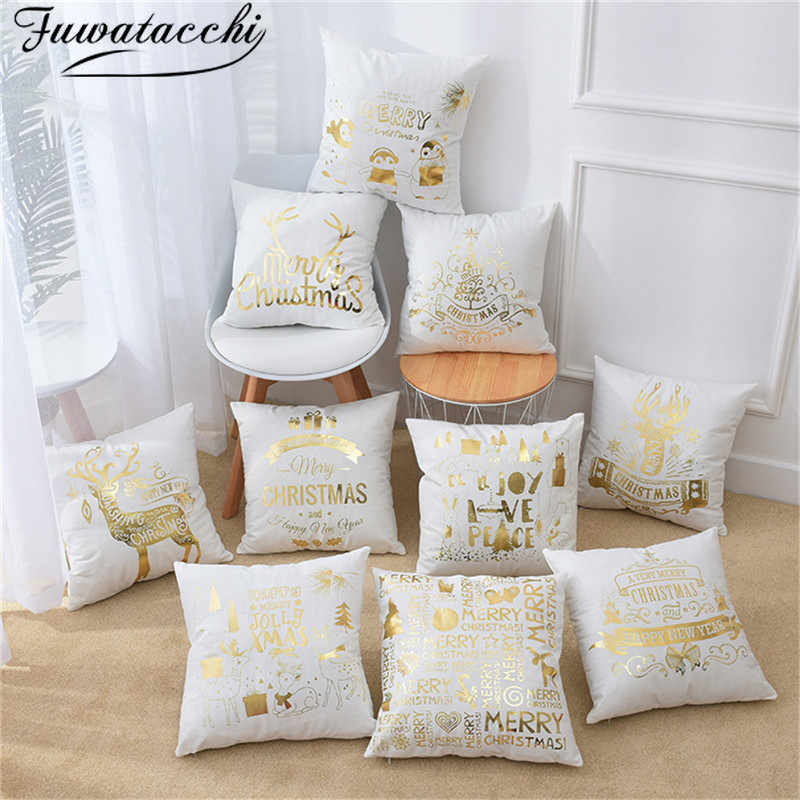 Fuwatacchi Christmas Cushion Cover Black Gold Foil Merry Christmas Pillow Cover Deer Leaf for Home Chair Sofa Decorative Pillows