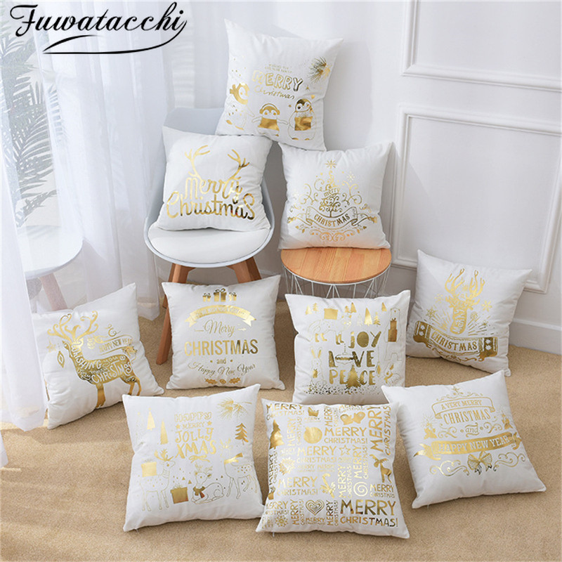 Fuwatacchi housse de coussin de noël feuille d'or noir joyeux noël taie d'oreiller feuille de cerf pour la maison chaise canapé oreillers décoratifs