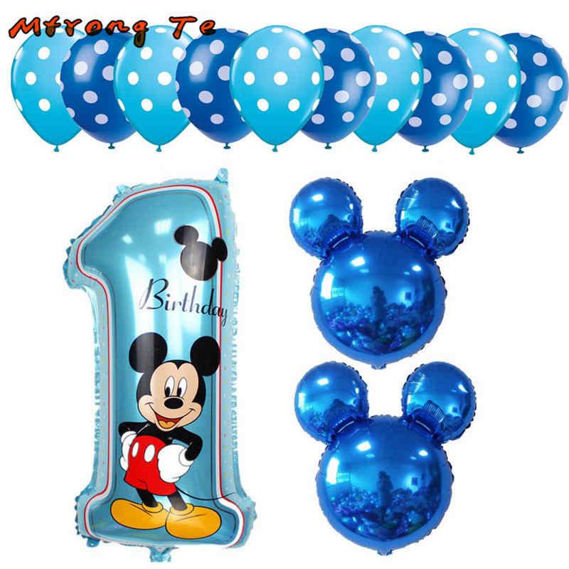 3549cccd8 13pcs Mickey Minnie Number 1 First Birthday Girl Boy Balloon Kids Birthday  Combination Decoration Helium Balloon